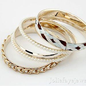 Multi-layer Knitted stripe pearl bracelet
